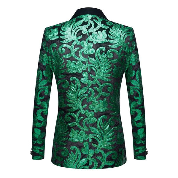 "The ""Latimer"" Sequin Slim Fit Blazer Suit Jacket - Emerald Green William // David"