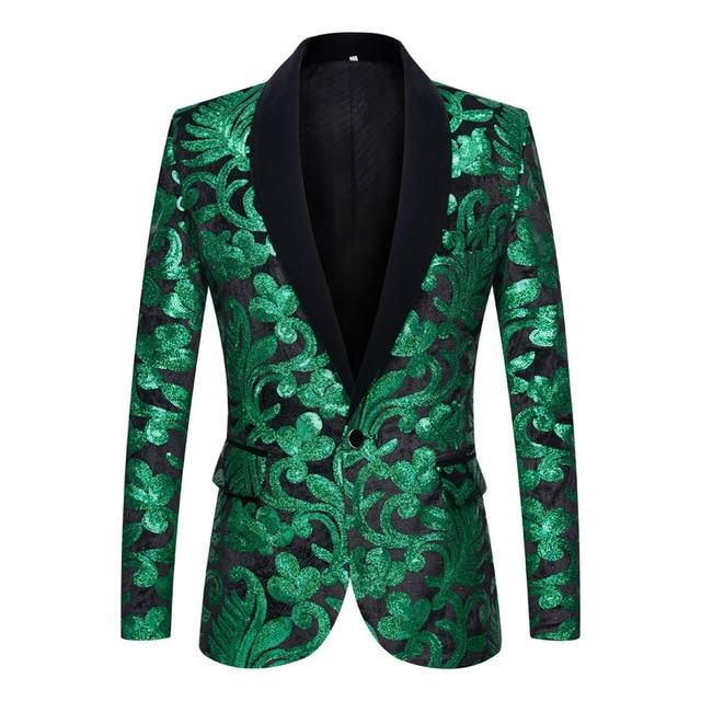"The ""Latimer"" Sequin Slim Fit Blazer Suit Jacket - Emerald Green William // David 2XL / 46R"