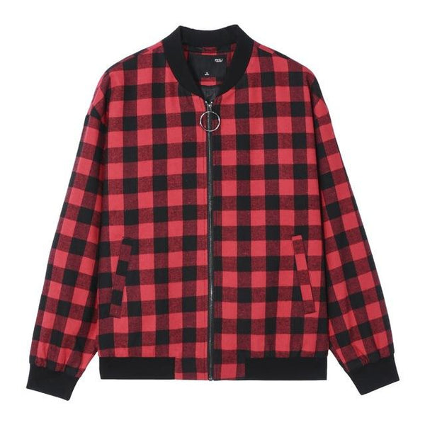 "The ""Hanley"" Plaid Bomber Jacket - Red William // David XL"