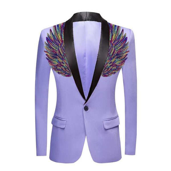 "The ""Cherub"" Slim Fit Blazer Suit Jacket - Lavender William // David Purple / Black Lapel XXS 34R"