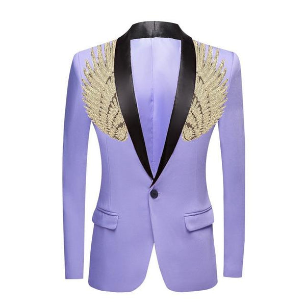 "The ""Cherub"" Slim Fit Blazer Suit Jacket - Lavender William // David Gold / Black Lapel XXS 34R"