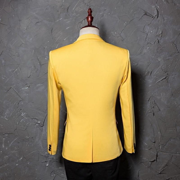 "The ""Cherub"" Slim Fit Blazer Suit Jacket - Maize Yellow William // David"