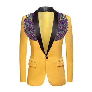 "The ""Cherub"" Slim Fit Blazer Suit Jacket - Maize Yellow William // David Purple / Black Lapel XXS 34R"