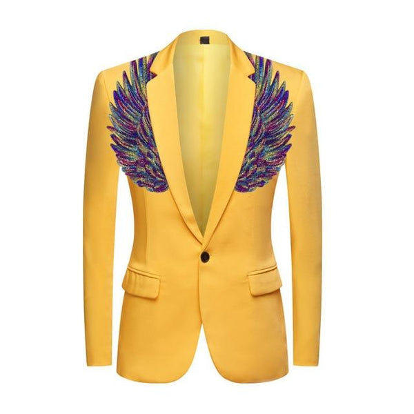 "The ""Cherub"" Slim Fit Blazer Suit Jacket - Maize Yellow William // David Purple XXS 34R"