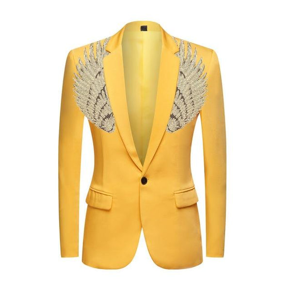 "The ""Cherub"" Slim Fit Blazer Suit Jacket - Maize Yellow William // David Gold XXS 34R"