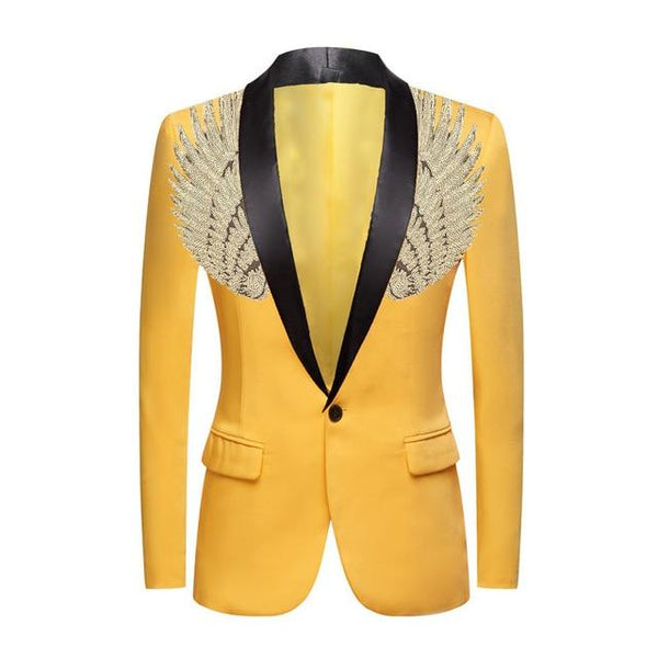 "The ""Cherub"" Slim Fit Blazer Suit Jacket - Maize Yellow William // David Gold / Black Lapel XXS 34R"