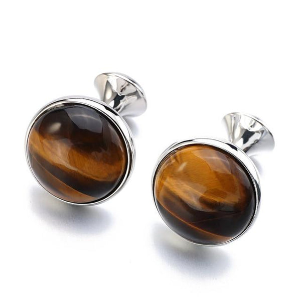 "The ""Tiger Eye"" Luxury Cuff Links - Multiple Colors William // David Silver"
