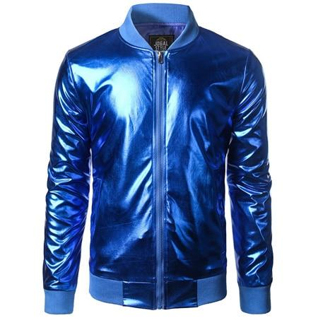 "The ""Giorgio"" High Gloss Bomber Jacket - Multiple Colors William // David Blue S"