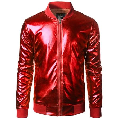 "The ""Giorgio"" High Gloss Bomber Jacket - Multiple Colors William // David Red S"