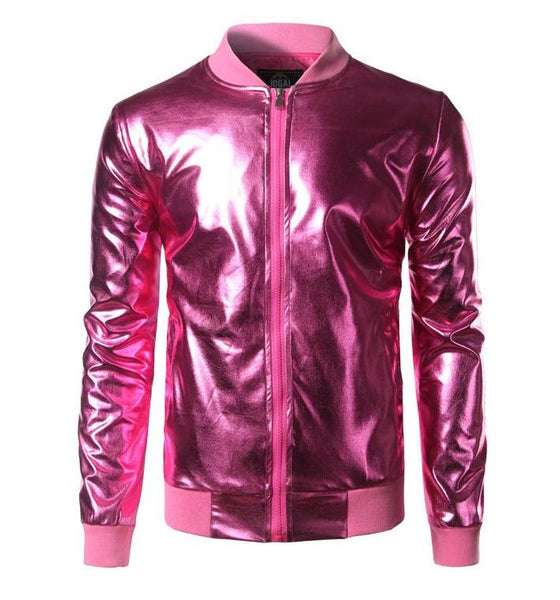 "The ""Giorgio"" High Gloss Bomber Jacket - Multiple Colors William // David Purple S"