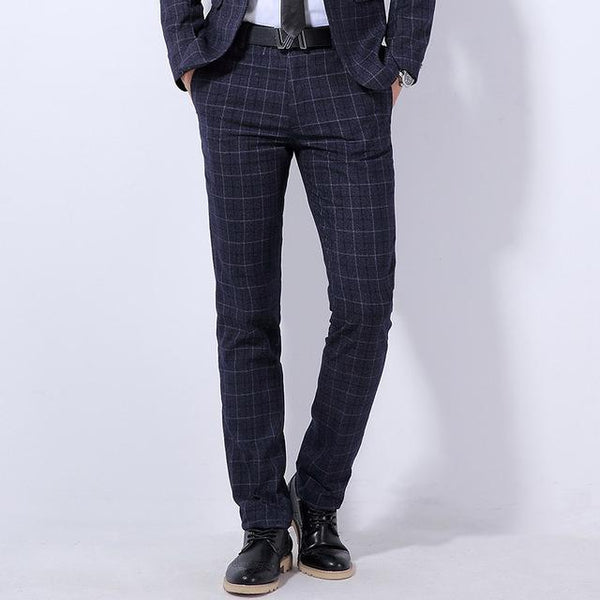 "The ""Henry"" Wool Plaid Modern Fit Suit Pants Trousers - Multiple Colors Shop3115081 Store navy 28"