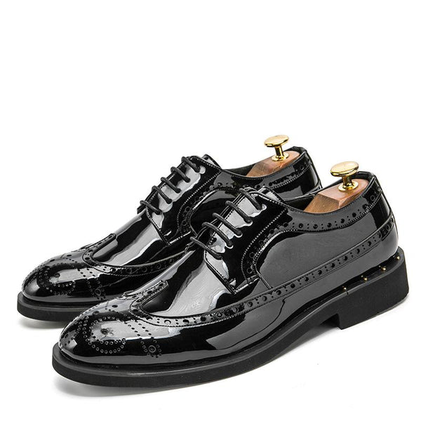 "The ""Manchester"" Patent Leather Oxford Dress Shoes - Multiple Colors valstone Official Store Black US 6.5 / EU 39"