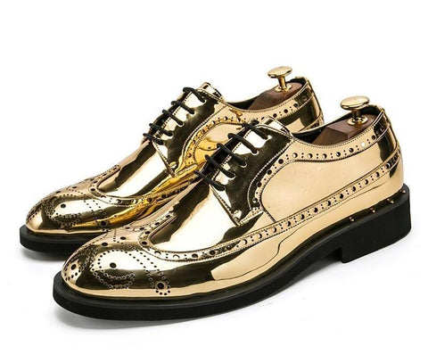 "The ""Manchester"" Patent Leather Oxford Dress Shoes - Multiple Colors valstone Official Store Gold US 6.5 / EU 39"