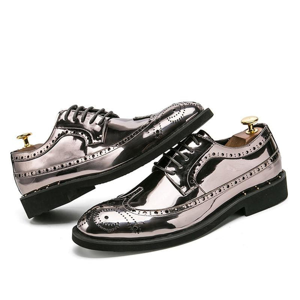 "The ""Manchester"" Patent Leather Oxford Dress Shoes - Multiple Colors valstone Official Store Silver US 6.5 / EU 39"
