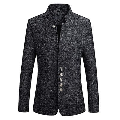 "The ""Ontario"" Slim Fit Mandarin Collar Jacket - Charcoal ZUSIGEL Official Store 2XL"