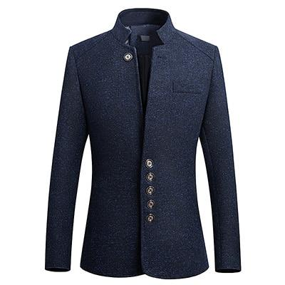 "The ""Ontario"" Slim Fit Mandarin Collar Jacket - Navy"