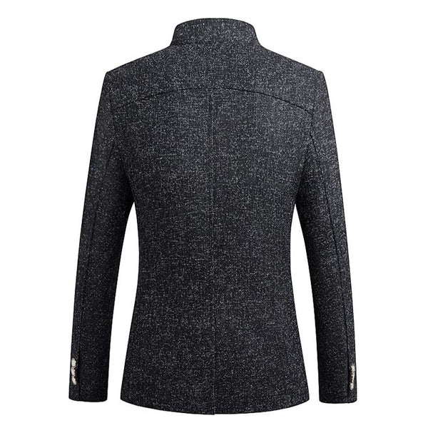 "The ""Ontario"" Slim Fit Mandarin Collar Jacket - Charcoal ZUSIGEL Official Store"