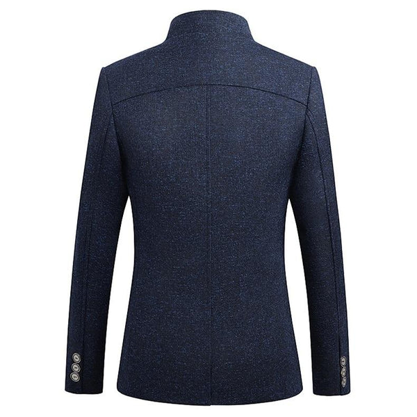 "The ""Ontario"" Slim Fit Mandarin Collar Jacket - Navy UplzCoo Fashionable Store"