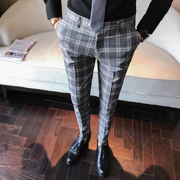 "The ""Frederic"" Plaid Slim Fit Suit Pants Trousers - Multiple Colors PYJTRL Official Store Grey 29"