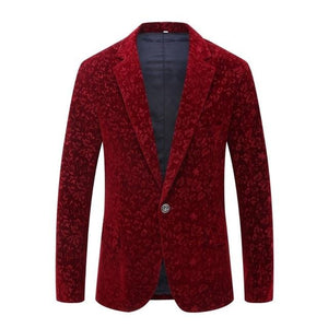 "The ""Rosemary"" Velvet Slim Fit Blazer Suit Jacket"