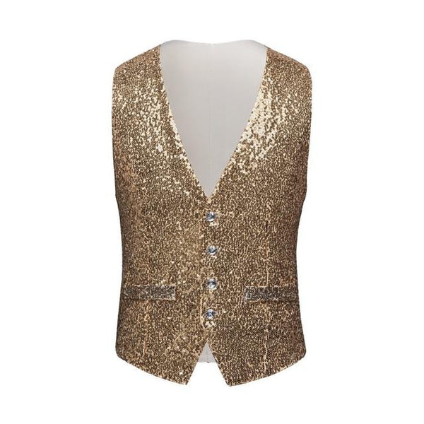 "The ""Crystal"" Sequin Vest - Gold"