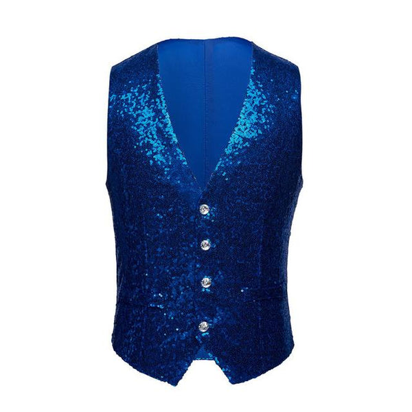 "The ""Crystal"" Sequin Vest - Sapphire"