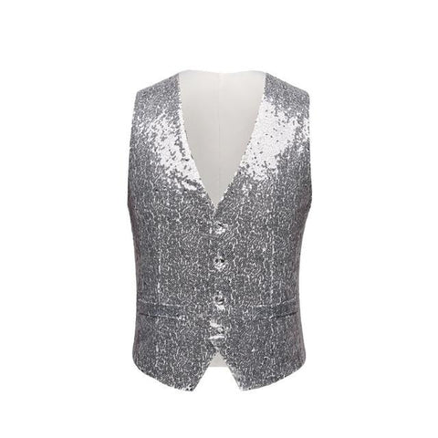 "The ""Crystal"" Sequin Vest - Platinum William // David XS"