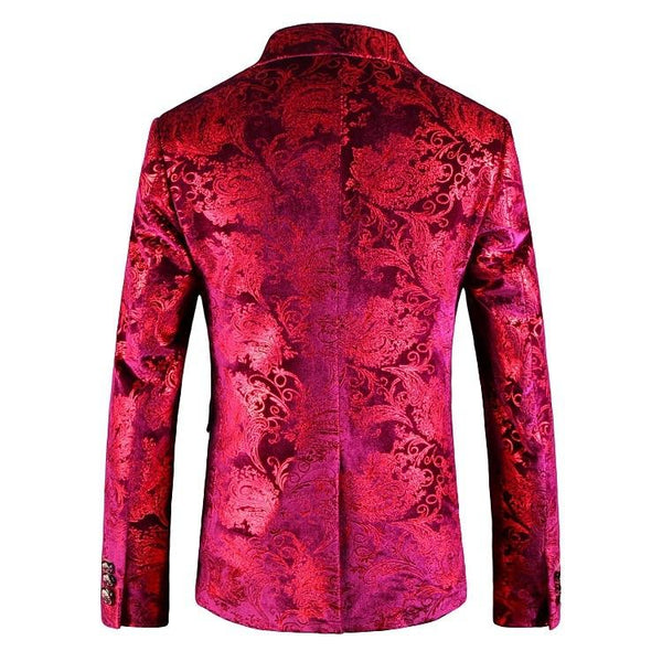 "The ""Bordeaux"" Velvet Slim Fit Blazer Suit Jacket"