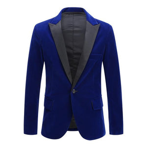 "The ""Xavier"" Slim Fit Velvet Blazer Suit Jacket - Cobalt Blue william-david XXS"