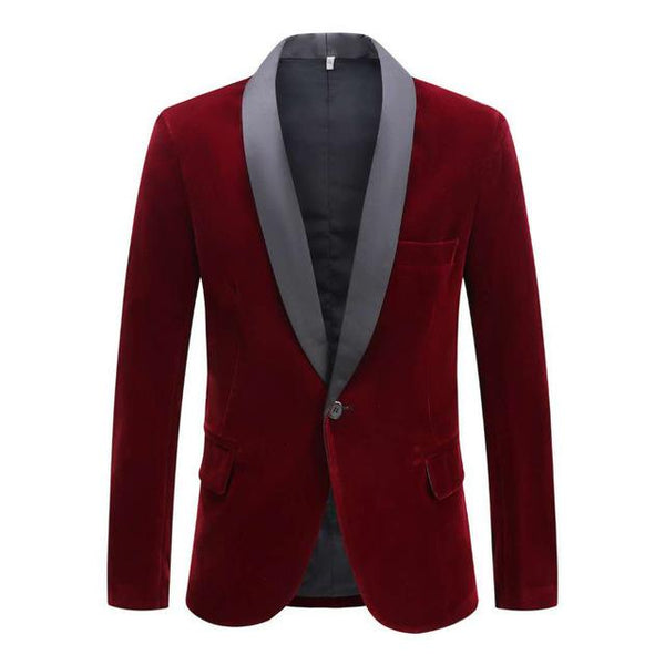 "The ""Xavier"" Slim Fit Velvet Blazer Suit Jacket - Oxblood"