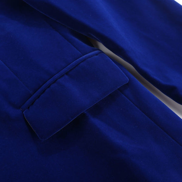 "The ""Xavier"" Slim Fit Velvet Blazer Suit Jacket - Cobalt Blue"