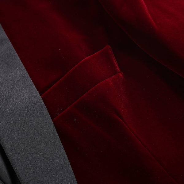 "The ""Xavier"" Slim Fit Velvet Blazer Suit Jacket - Oxblood william-david"
