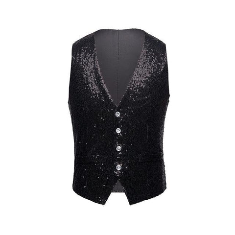 "The ""Crystal"" Sequin Vest - Jet Black William // David XS"