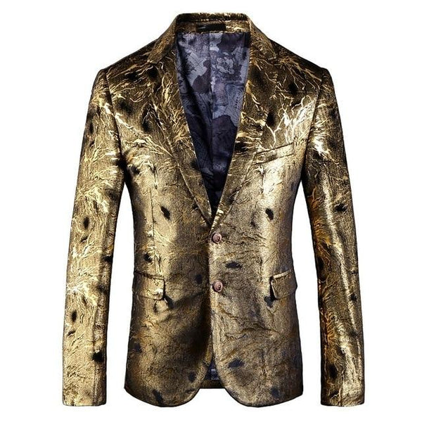 "The ""Davide"" Gold Slim Fit Blazer Suit Jacket PYJTRL Official Store"