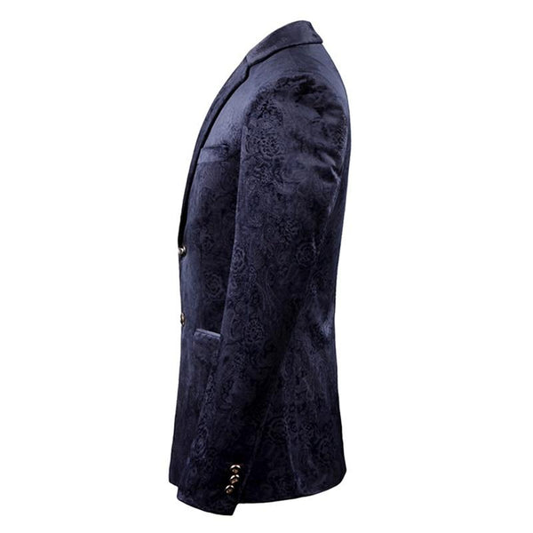 "The ""Arthur"" Slim Fit Velvet Blazer Suit Jacket - Navy PYJTRL Official Store"