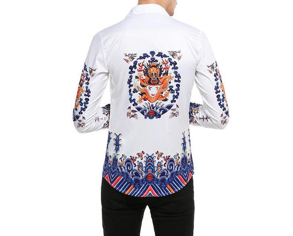 "The ""Doragon"" Long Sleeve Shirt - White"