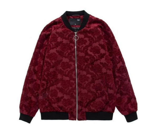 "The ""Paris"" Jacquard Bomber Jacket - Scarlet William // David"