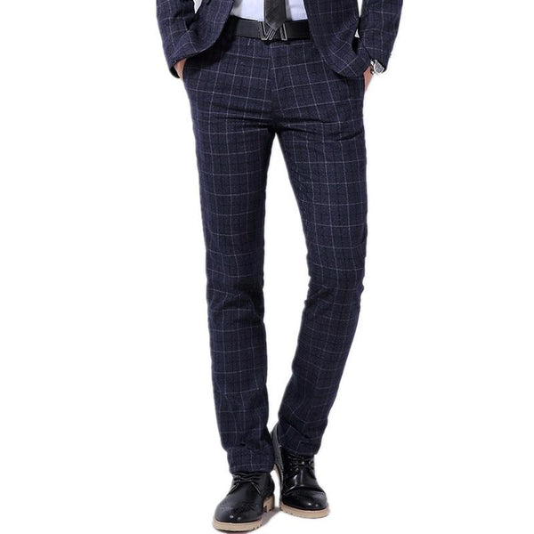 "The ""Henry"" Wool Plaid Modern Fit Suit Pants Trousers - Multiple Colors"
