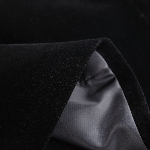 "The ""Xavier"" Velvet Slim Fit Blazer Suit Jacket - Jet Black"