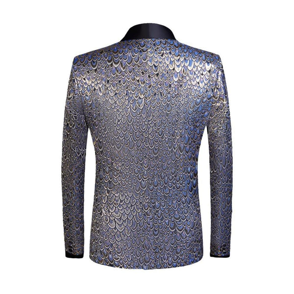 "The ""Riccardo"" Slim Fit Blazer Suit Jacket - Metallic Blue"