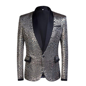 "The ""Riccardo"" Slim Fit Blazer Suit Jacket - Platinum PYJTRL Official Store XS"