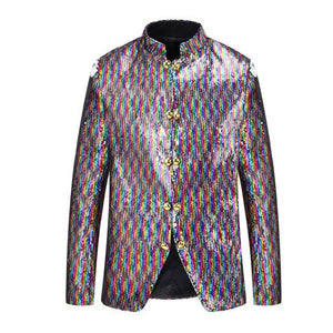"The ""Palazzo"" Sequin Mandarin Collar Jacket"