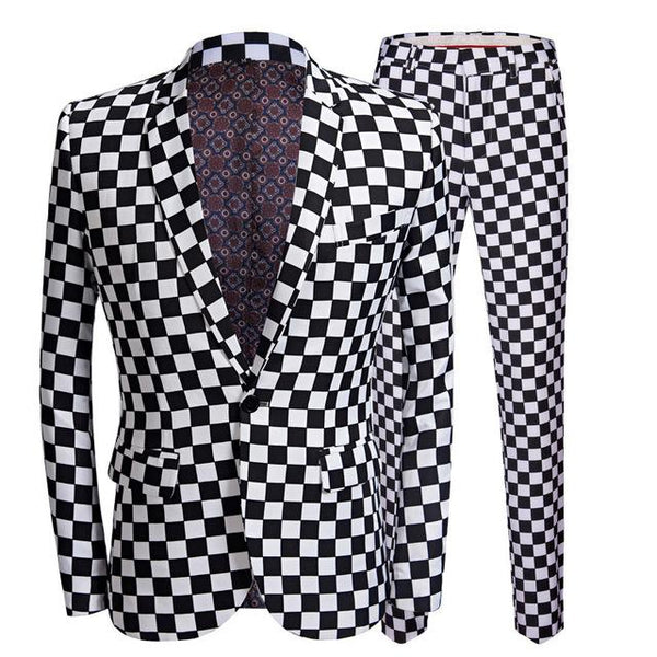 "The ""Micro Check"" Slim Fit Two-Piece Suit William // David Check Lapel XS"