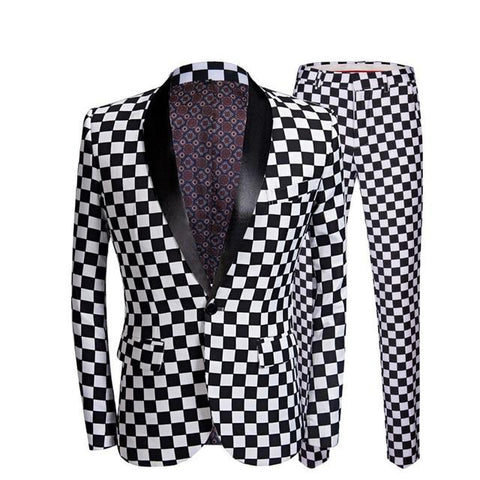 "The ""Micro Check"" Slim Fit Two-Piece Suit William // David Black Lapel XS"