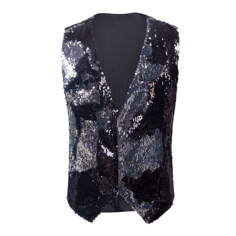 "The ""Manifesto"" Sequin Vest - Chrome Black"