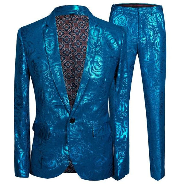 "The ""Aqua Rose"" Slim Fit Two-Piece Suit William // David Blue Lapel XXS"