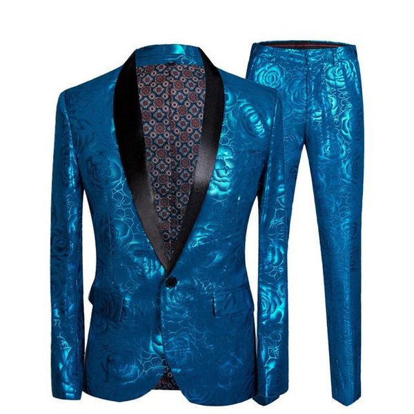 "The ""Aqua Rose"" Slim Fit Two-Piece Suit William // David Black Lapel XXS"