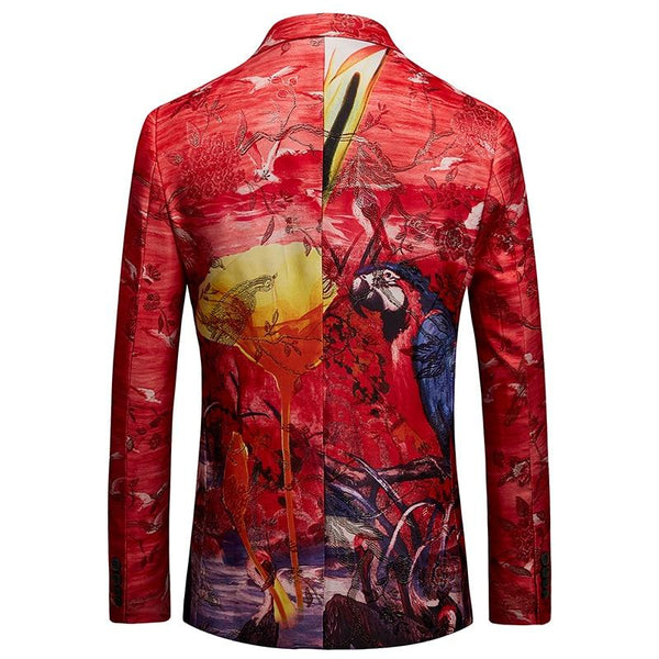 "The ""Tropicana"" Slim Fit Blazer Suit Jacket - Cherry Red MYAZHOU DIRECT Store"
