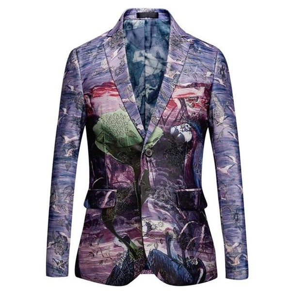 "The ""Tropicana"" Slim Fit Blazer Suit Jacket  - Violet"