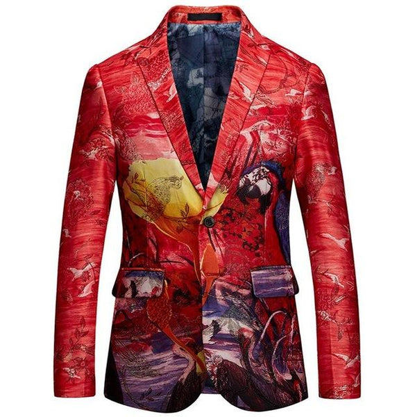 "The ""Tropicana"" Slim Fit Blazer Suit Jacket - Cherry Red MYAZHOU DIRECT Store L"